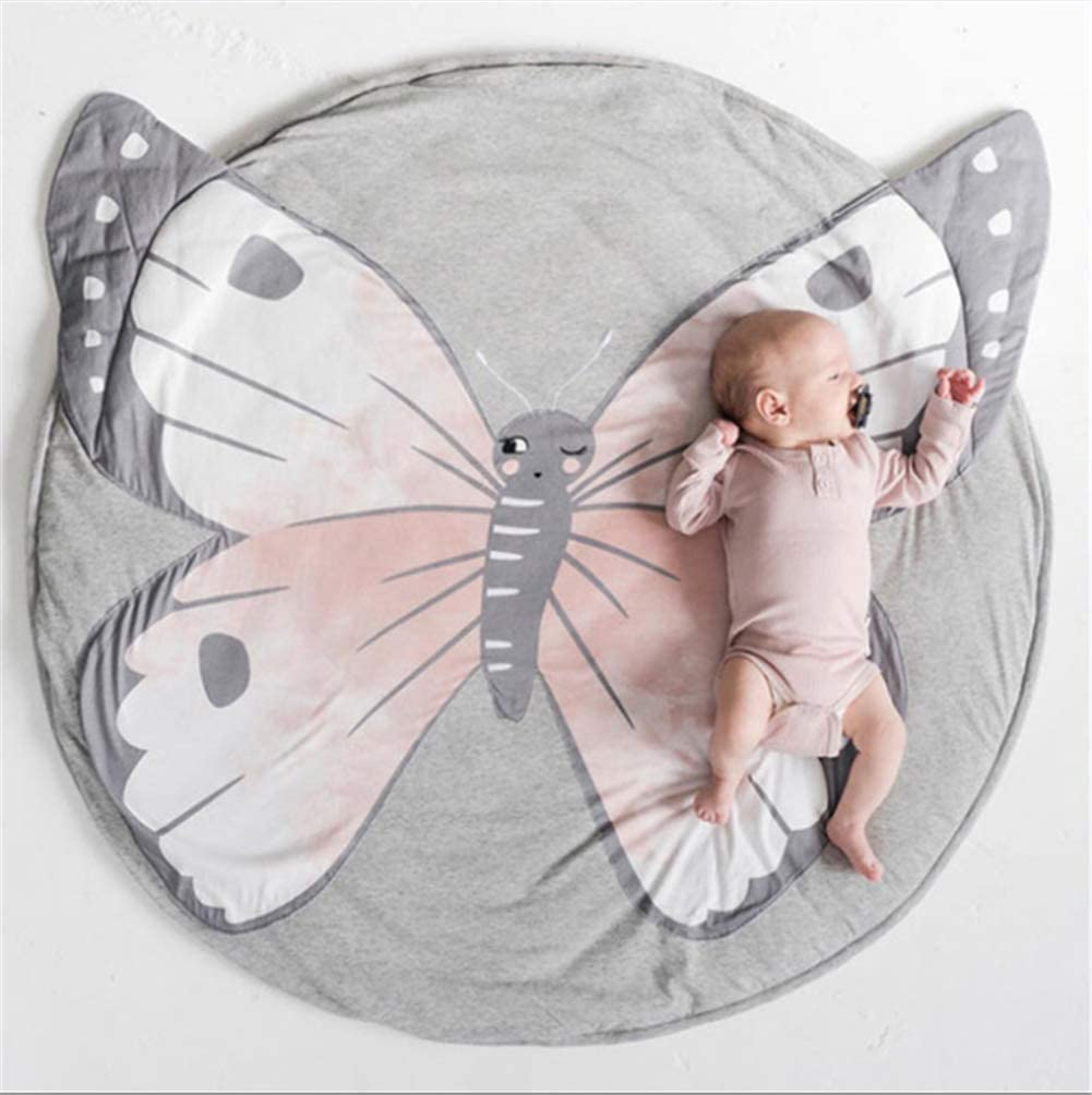 Butterfly Dreamsdox Baby Crawling Mats 35.4 x 35.4 Inch Game Blanket Floor Playmats Kids Infant Child Activity Round Rug