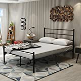 DUMEE Full Size Metal Bed Frame With Headboard and Footboard Mattress foundation Box Spring Replacement Steel Slat Support Black