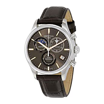 Certina Mens DS-8 Moon Phase 42mm Brown Leather Band Steel Case Quartz Grey Dial