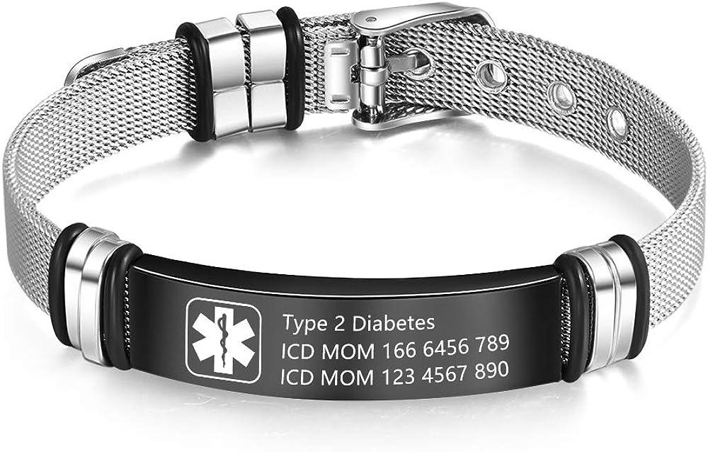 Medical Alert Bracelet for Men & Women Adjustable Free Engrave Stainless Steel Emergency Medical ID Bracelets Medic Alert Bracelet Health Alert Bracelets