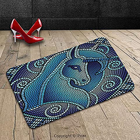 Custom Machine-washable Door Mat Animal Decor Antique Rome Mosaic Myth Horse Unicorn with its Horn Ombre like Print Dark Blue and Blue Indoor/Outdoor Doormat Mat Rug - Mosaic Outdoor Rug