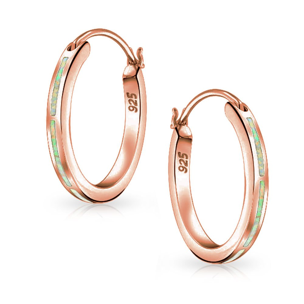 Created Pink Opal Inlay Flat Tube Large Hoop Earrings For Women Rose Gold Plated 925 Sterling Silver October Birthstone