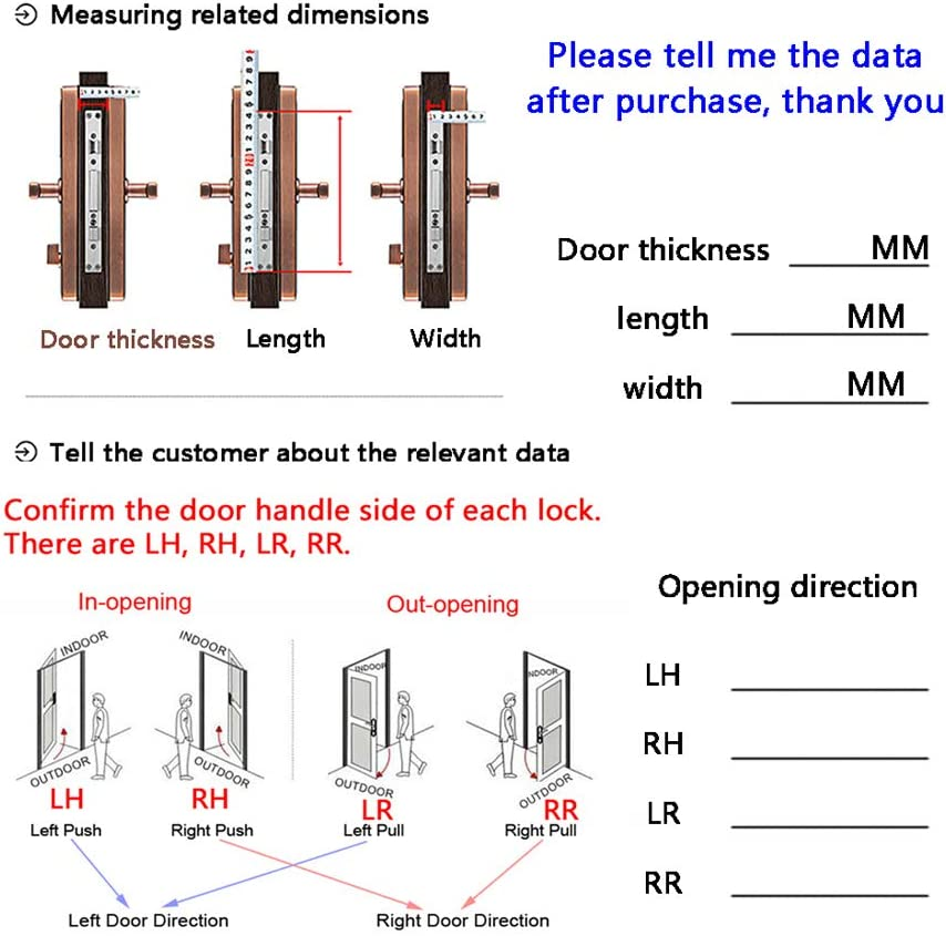 Smart Door Lock Stainless Steel 304 6 in 1 Fingerprint Password Magnetic Card Key Aging Password APP Bluetooth Unlock for Hotel House Villa Etc Home Security,Black,LH
