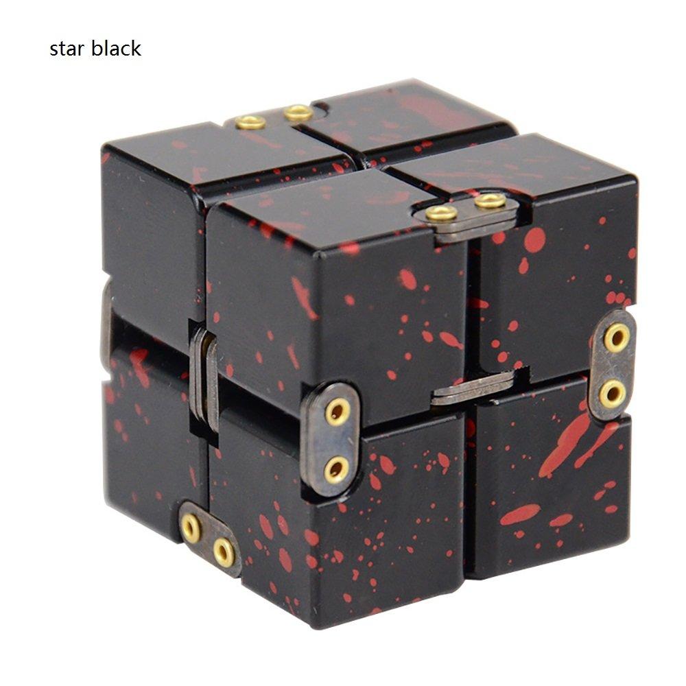 JEYKAY 2018 New Aluminium Alloy Infinity 17 Col Fidget Cube Infinity Cube,Fidget Cube for Stress and Anxiety Relief/ADHD,Ultra Durable (Star Black) by JEYKAY
