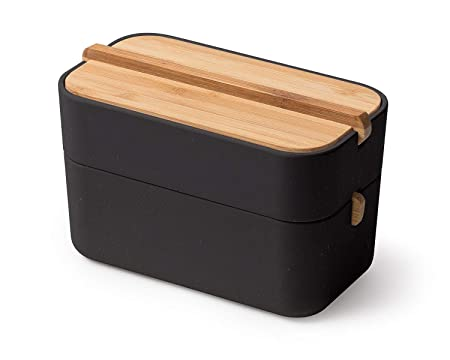 Lexon Box für Badezimmer, Bambus, schwarz, 15,4 x 8,4 x 9,4 cm ...