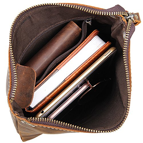 Genda 2Archer Borsa a Tracolla Semplice Borsa del Cuoio Vera iPad per gli Uomini