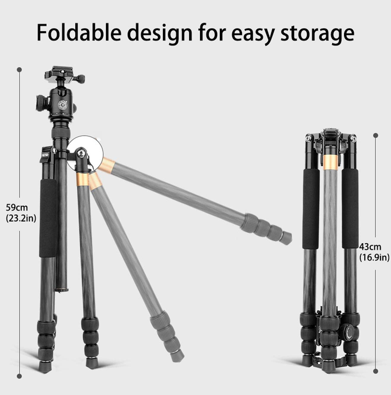 Color : Aluminum alloy Video Tripod System Tripod for Camera Tabletop Tripod Adjustable Selfie Pole Carbon Fibre Tripod Rotatable Center Column 360 Degree Ball Head Cameras Up to 17 Pounds
