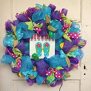 AG Designs Spring Summer Decor – Relax Flip Flop Theme Lighted Wreath 87