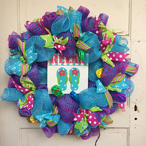 5e72e76d0 AG Designs Spring Summer Decor – Relax Flip Flop Theme Lighted (Flip Flop  Wreath)