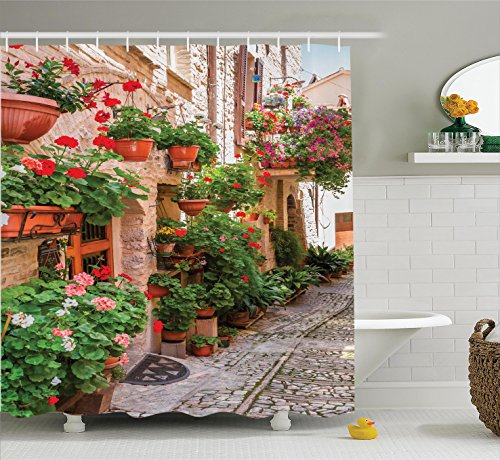 Ambesonne Tuscan Decor Shower Curtain Set, Street View of a Small Renaissance Town with Floral Porches and Rock Houses Mediterranean Art, Bathroom Accessories, 84 Inches Extralong, Multi