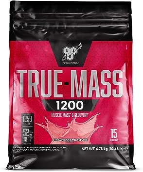 BSN True Mass 1200, Proteínas de la Leche y Carbohidratos para Aumentar Masa Muscular, Batido de Fresa, 15 Porciones, 4.73 kg