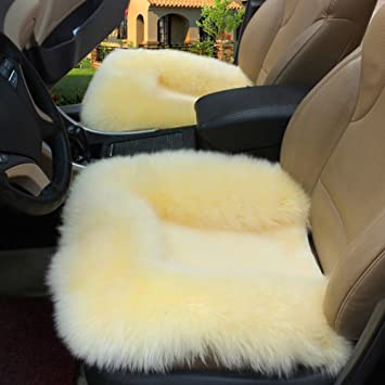 GELing Car Seat Cover Soft Warm Winter Faux Fur Seat Cushion Comfortable Cushion for Car And Office Chair 1PC-Beige Universal Fit Auto Seat Pad Fluffy Faux Wool Seat Cover
