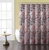Elegant Gray Pink Taupe Fabric Shower Curtain: Large Floral Paisley Print Design, 72' x 72' inch