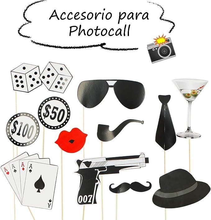 Starplast Accesorios para Photocall, Camera Props, 12 Piezas, para Bodas, Cumpleaños, Fiestas, etc. Diseño Casino: Amazon.es: Hogar