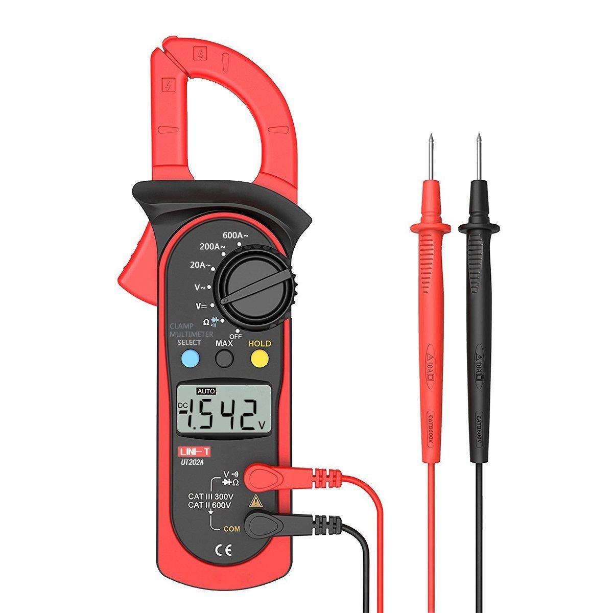 Uni-t UT202A Auto-Ranging Multimeter AC DC 600 Amps Auto/Manual Range Digital Handheld Clamp Meter Test Tool