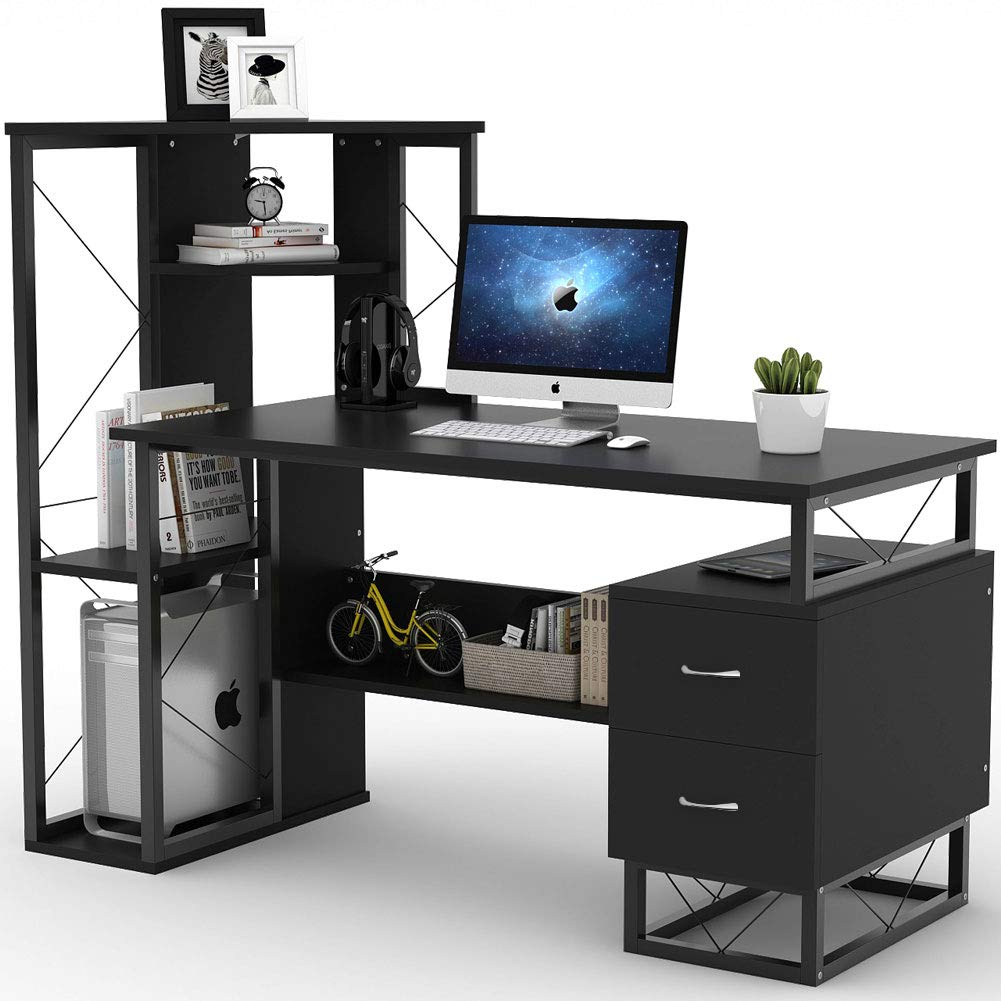 Tribesigns Computer Desk with Drawers and Shelves, 57 Inches Functional Writing Office Desk with Corner Tower Shelves and Two Drawers for Small Spaces, Compact Workstation Desk for Home Office (Black) by Tribesigns