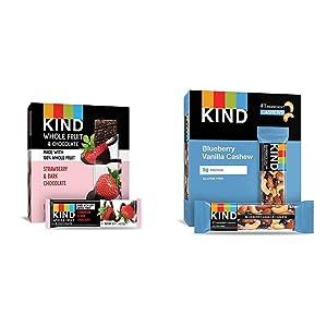 Pressed by KIND Fruit Bars, Dark Chocolate Strawberry, No Sugar Added, Gluten Free, 1.34oz, 12 Count & Bars, Blueberry Vanilla & Cashew, Gluten Free, Low Sugar, 1.4oz, 12 Count
