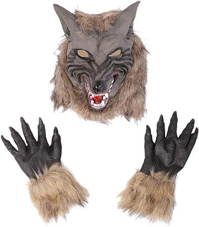 Amosfun Disfraz de Hombre Lobo Garras Guantes y máscara de Cabeza ...
