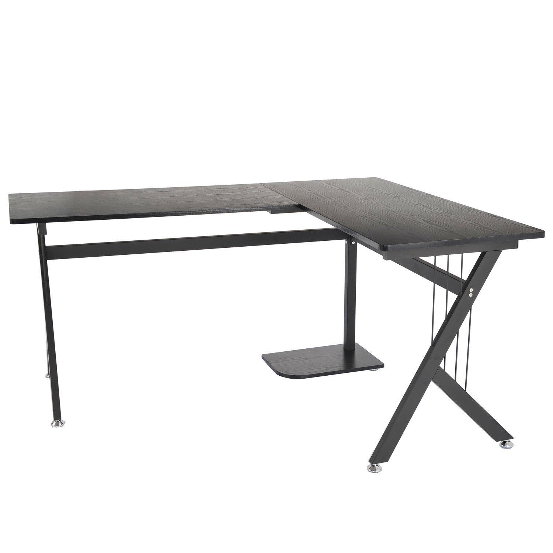 Winkelschreibtisch selber bauen  Homcom A2-0081 Computertisch, Holz, modell 3/schwarz, 155.0 x ...