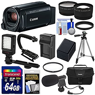 Canon Vixia HF R800 1080p HD Video Camera Camcorder with 64GB Card + Battery & Charger + Case + Tripod + Stabilizer + LED + Mic + 2 Lens Kit