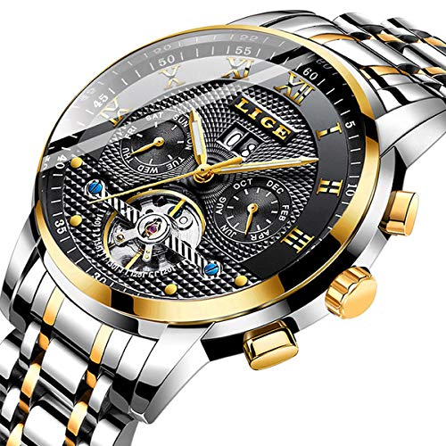 Watches Men Fashion Business Waterproof LIGE Men Watch Dress Calendar Mechanical EEN Watch Automatic Gold Black Steel Band Dress Date Wristwatch Gents