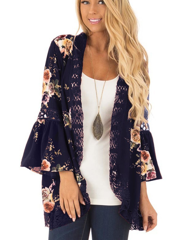 Chunoy Womens Casual 3/4 Flare Sleeve Floral Print Casual Kimono Cardigan Blouse Top Deep Blue Large