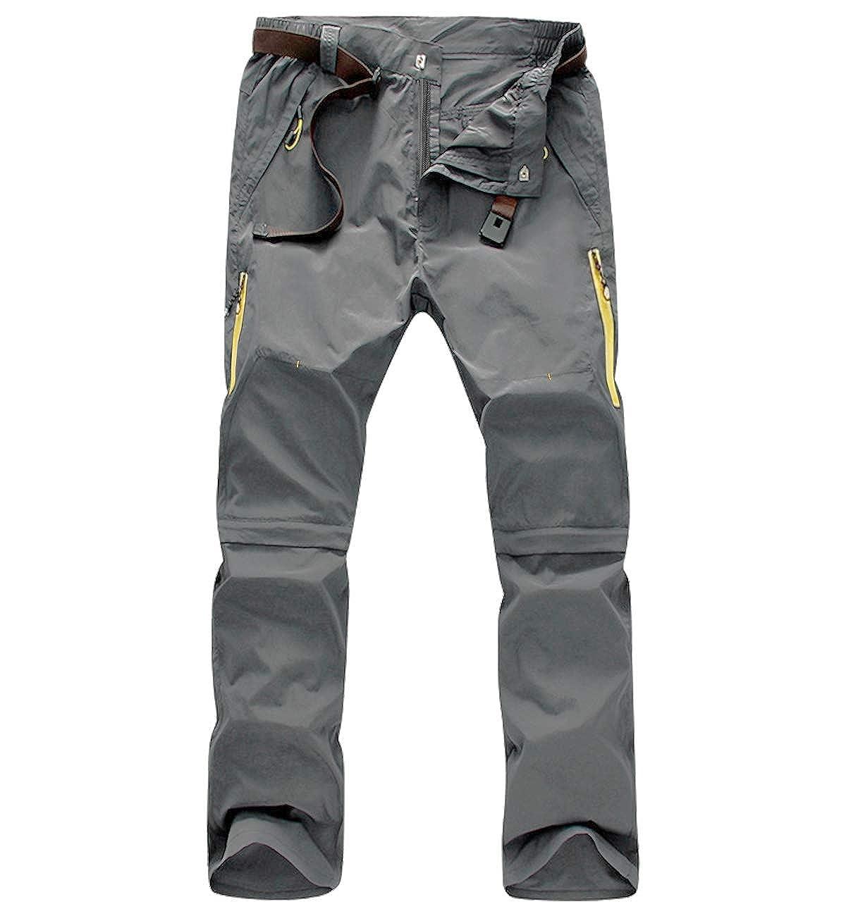 Superora Pantalones Hombres Largo/Corto Impermeable Senderismo Táctico Camuflaje Secado Rápido Fino y Transpirable para Primavera y Verano