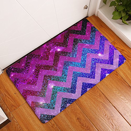 YQ Park Low Profile Striped Line Sequined Door Mat Fashion Welcome Pad Garage Garden Snow Shovel Front Door Mat Fuchsia ()