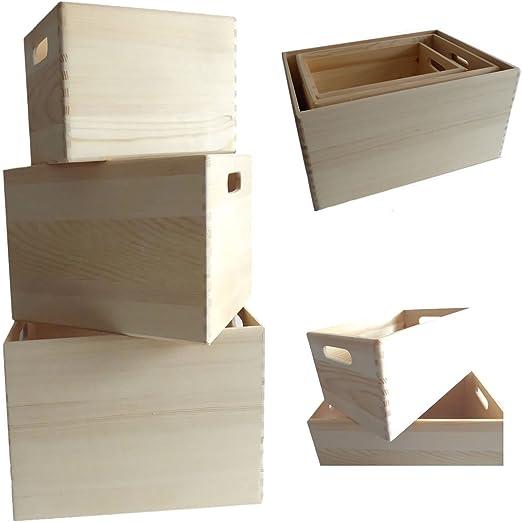 LS Diseño 3 X Cajas Multiusos Caja de madera caja de madera Estante orden Caja, Madera, marrón, 3´er Set Braun: Amazon.es: Jardín