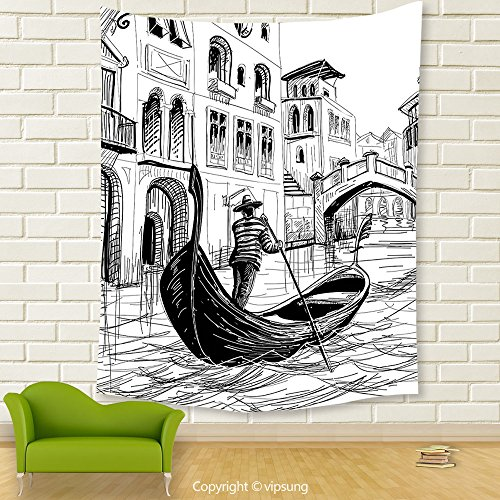 Vipsung House Decor Tapestry_Sketchy Decor Gondola In Venice European Famous Canal History Mediterranean Holiday Image Black White_Wall Hanging For Bedroom Living Room (Canal Panda Halloween)