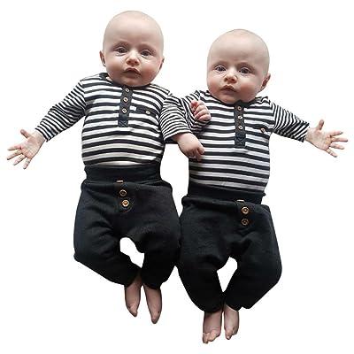 Honhui Fashion Baby Boys Outfits Stripe Cotton T-shirt Tops+Long Button Pants Set