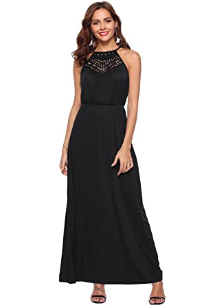 225ac9a9c6a Women s Casual Sleeveless Spaghetti Strap Halter Neck Sexy Party Lace Hollow  Out Long Maxi Tank Dresses at Amazon Women s Clothing store