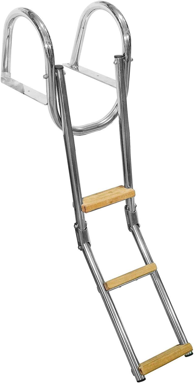 Escalera Plegable Escala Tabla de Acero Inoxidable de 3 Peldaños, Diseño de Barca Gommone 75 cm: Amazon.es: Deportes y aire libre
