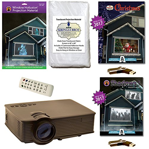 AtmosFearFx Christmas and Halloween Digital Decoration Kit includes 1900 Lumen Projector, Hollusion (W) + Kringle Bros Rear Projection Screens, Christmas and Shadows Compilation Videos on USB by Kringle Bros
