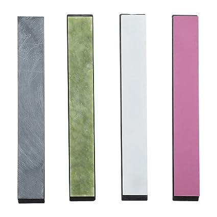 Piedra de afilar cuchillos, 4 piezas 3000/5000/8000/10000 granos colorido con base para afilar cuchillos afilador de cuchillos de ángulo fijo