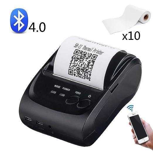 EJOYDUTY Mini portátil inalámbrico Bluetooth y USB Impresora ...