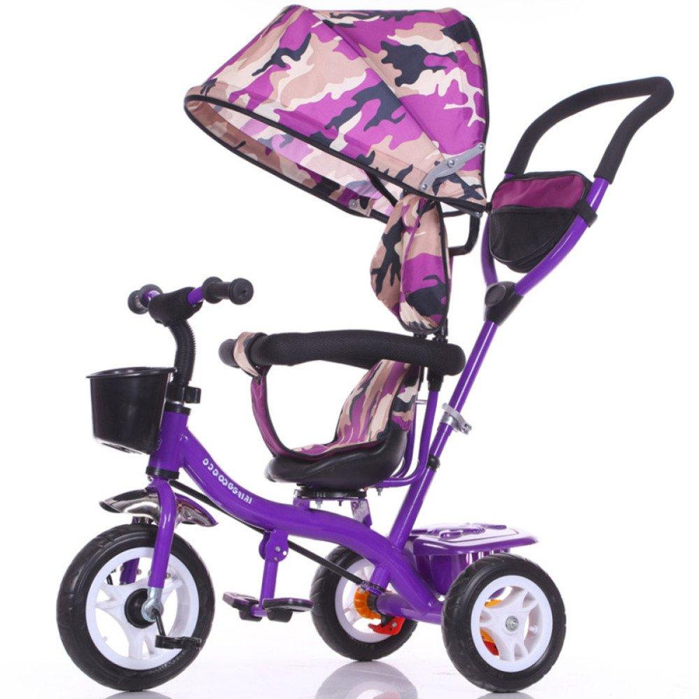 TUJHGF Triciclo para Niños Rotación De Una Llave Bicicleta para Bebés Boy Girl Self Bicycle Carrito para Bebés de 1 A 6 Años,Purple