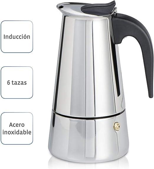 Xavax Cafetera espresso para 6 tazas de café aromático, cafetera para inducción, gas, cocina eléctrica o vitrocerámica, cafetera de acero inoxidable