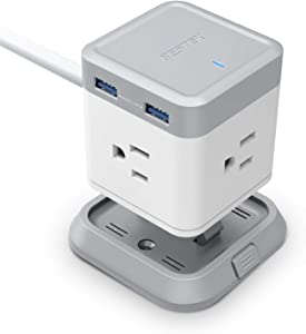 BESTEK Power Strip with USB, Vertical Cube Mountable Power Outlet Extender with 3 Outlets, 4 USB Ports, 5-Foot Extension Cord and Detachable Base for Easy Mounting