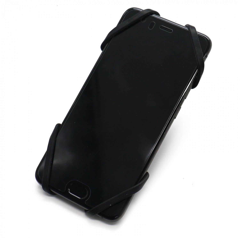 HUELE Silicone Bike Phone Mount Adjustable Motorbike Handlebar Strap Holder for iPhone Smartphones 4-6 Inch Black