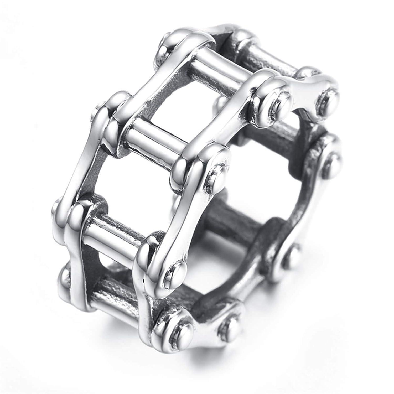 Bishilin Ring for Men Stainless Steel 13MM Biker Chain Wedding Ring Unique Men Ring Vintage