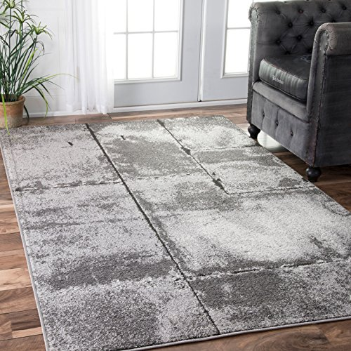 nuLOOM Plain Lines Contemporary Area Rug, 7′ 6″ x 9′ 6″, Grey