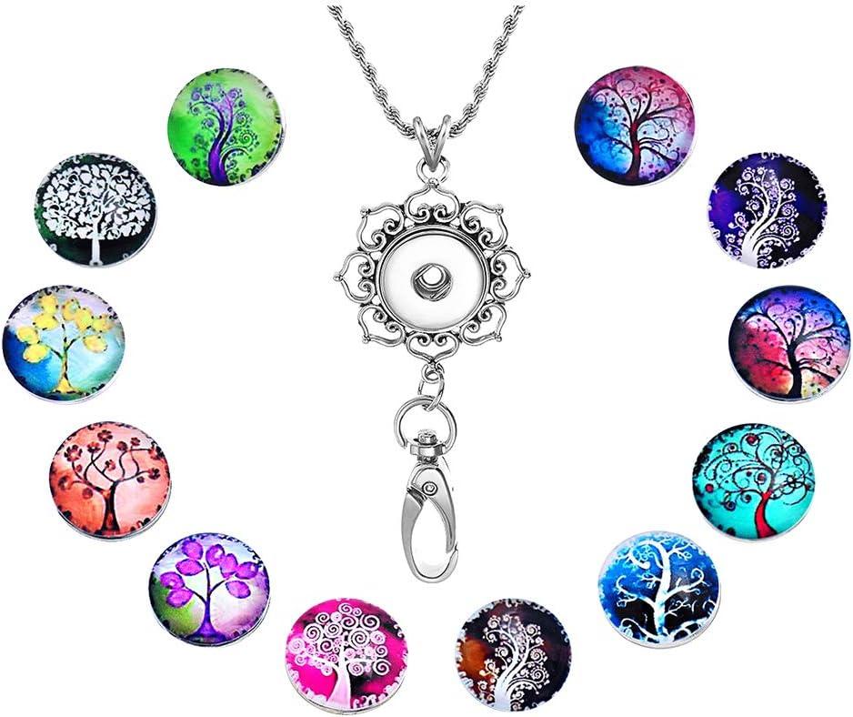 Casa De Novia Womens Alphabet A-Z Office Lanyard ID Badges Holder Necklace Keychain Snap Chunk Press Button Clip Jewelry