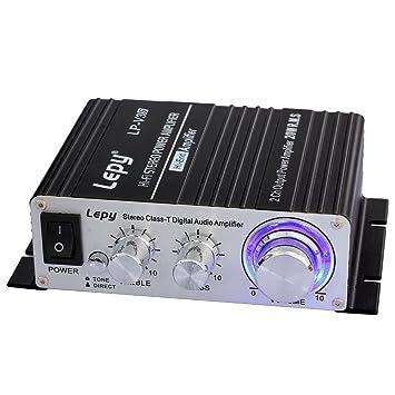 LEPY LP-V3s pequeño Amplificador de HiFi para Auto,PC, casa Corriente DC12V: Amazon.es: Coche y moto