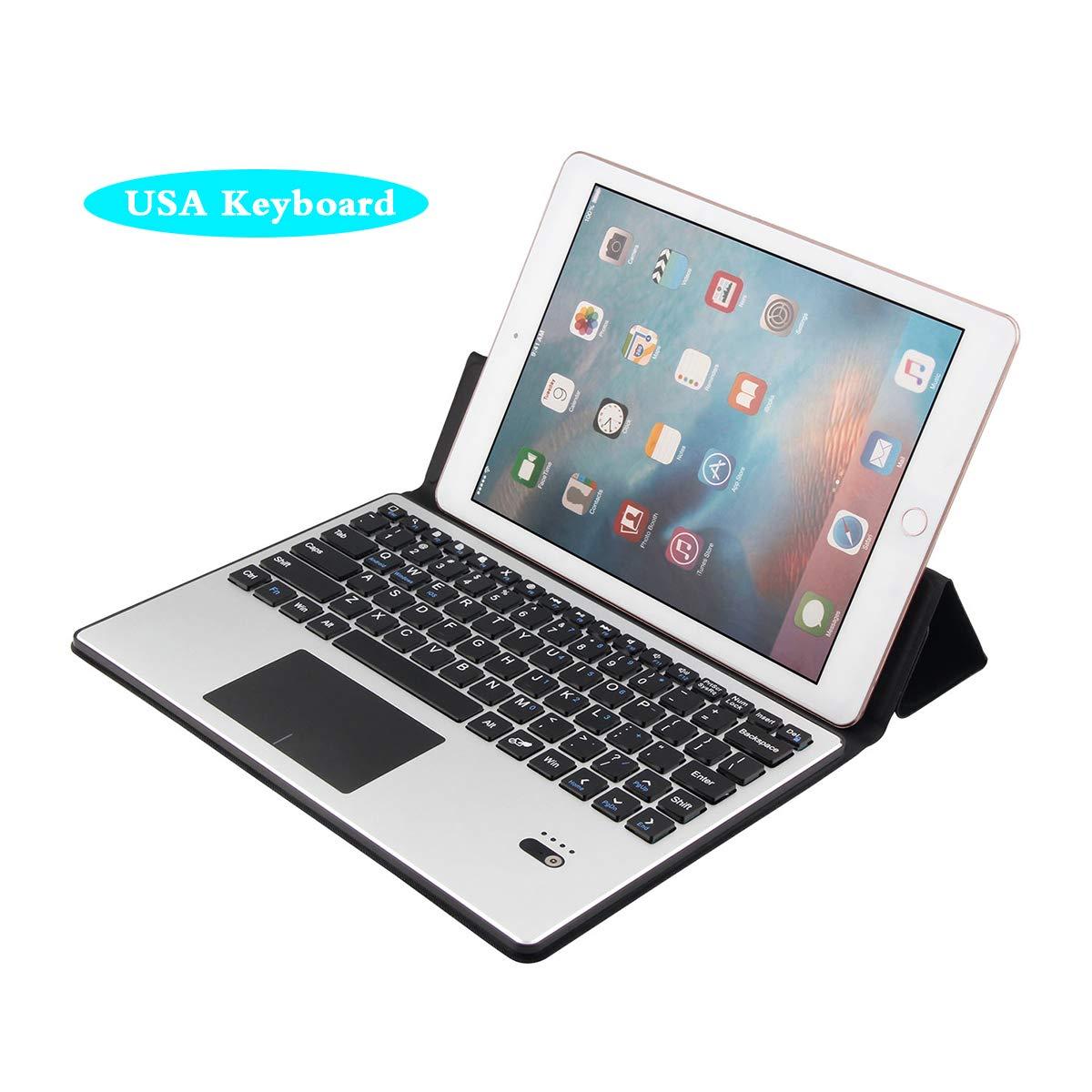 Happon 10.1インチ タブレット USA キーボードケースセット 取り外し可能なワイヤレスUSAキーボードタブレットプロテクターケース付き フリップ 耐衝撃 10.1インチタブレット USAキーボード用 ブラック   B07KTZ246T