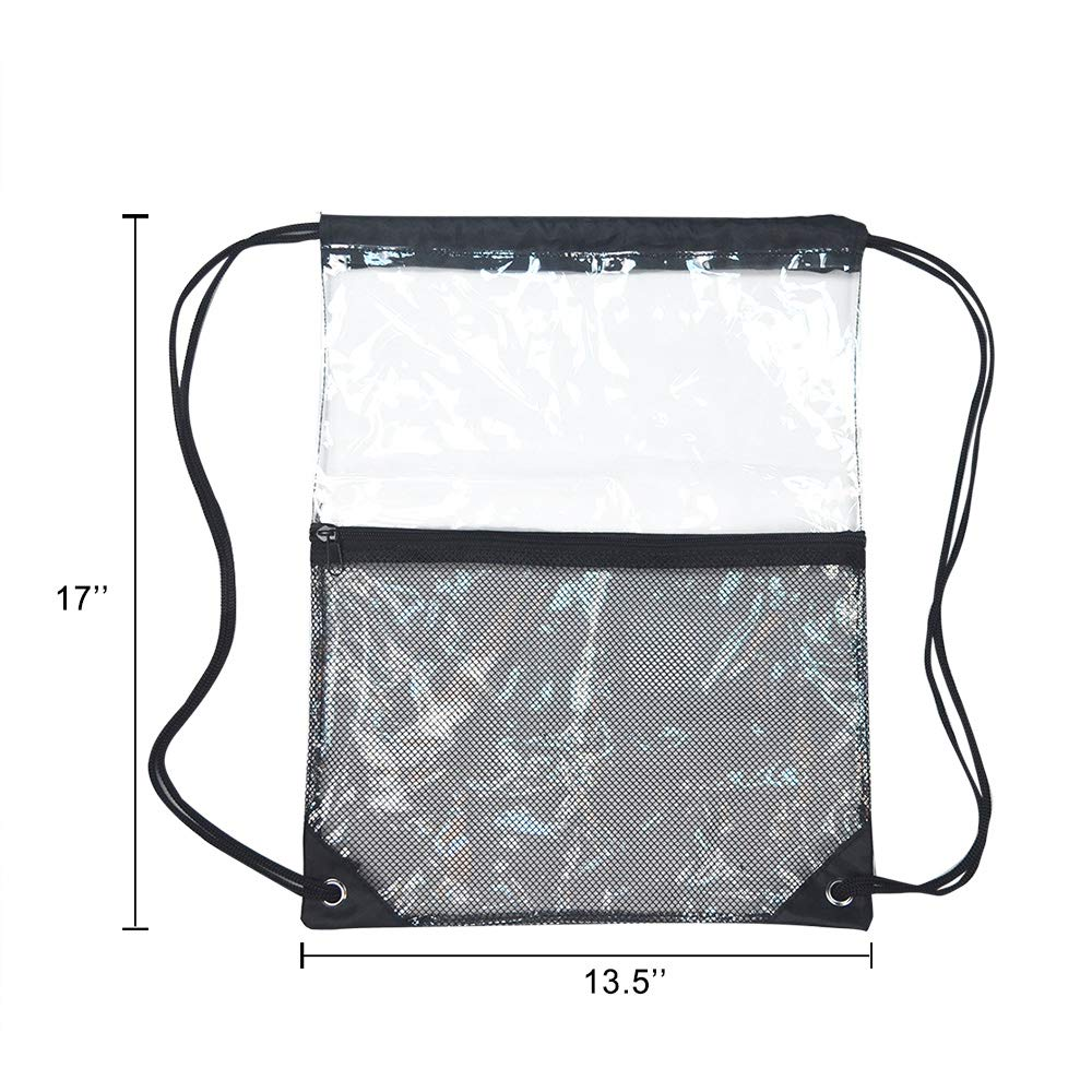 Clear Drawstring Bag, PVC Drawstring Backpack with Front Zipper Mesh Pocket by Magicbags (Image #4)