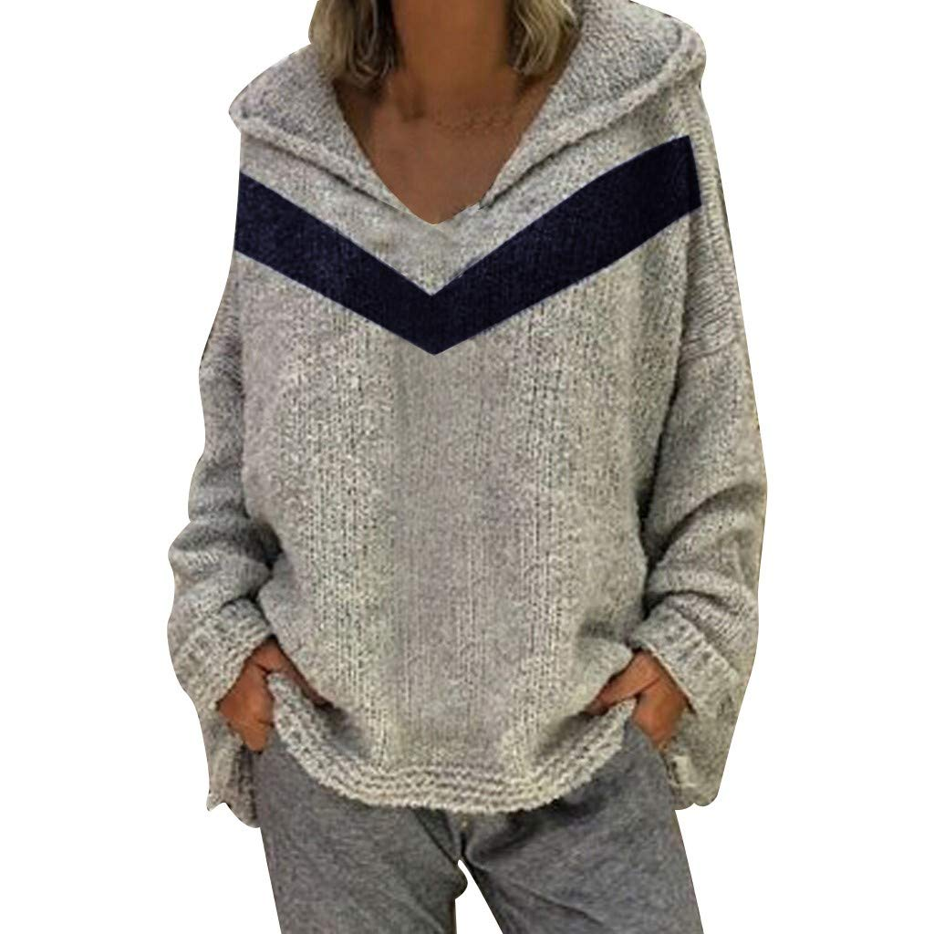Women Knit Cardigans Fleece Hoodie Sweater Casual Loose Comfortable Stripe Print Long Sleeve V-Neck Pullover Blouse Tops Sweatshirt Coat