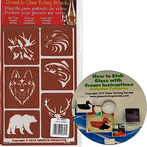 Wild Animal Stencils (Wild Animal Over 'N' Over Reusable Stencils + Free How to Etch CD & Patterns)