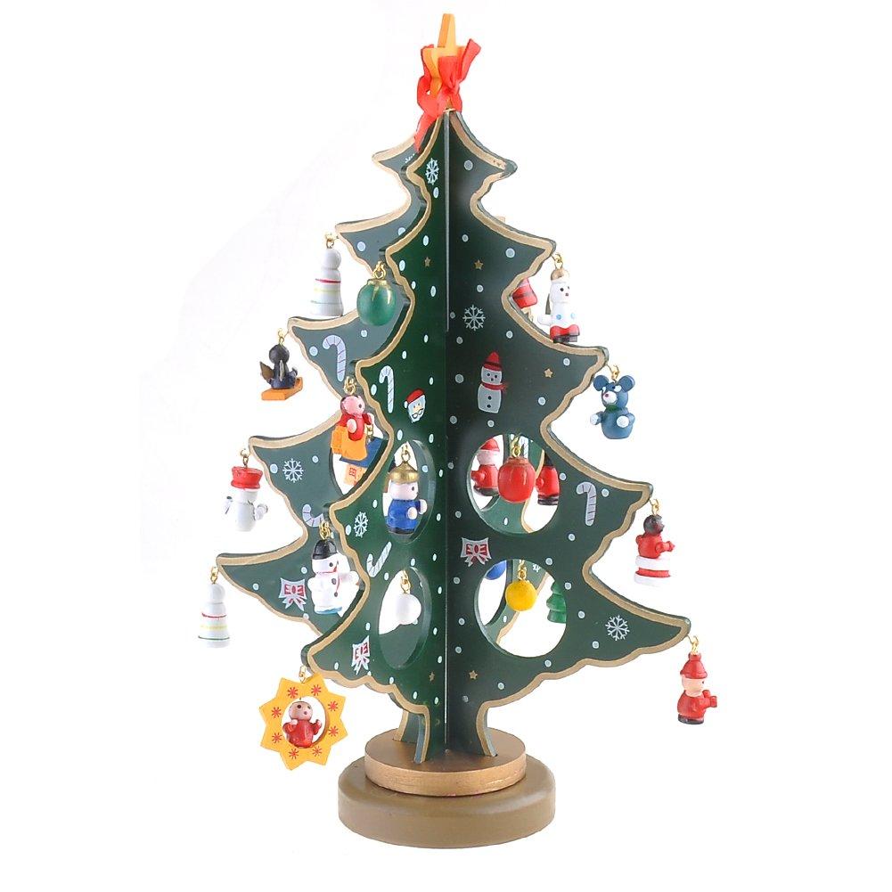 GEEDIAR Albero di Natale del Tabletop, 30cm (12in) Albero di Natale Mini Artificiale Abete di Natale con Piccola Santa Stella Angelo Ornamenti, Verde