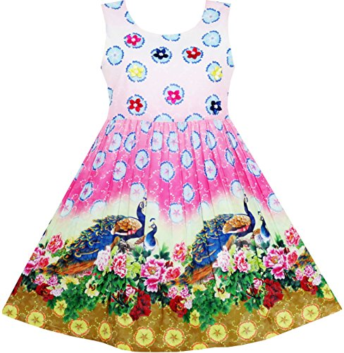 HV54 Girls Dress Chinese Peacock Peony Flower Circle Pattern Size (Peacock Dress For Girls)